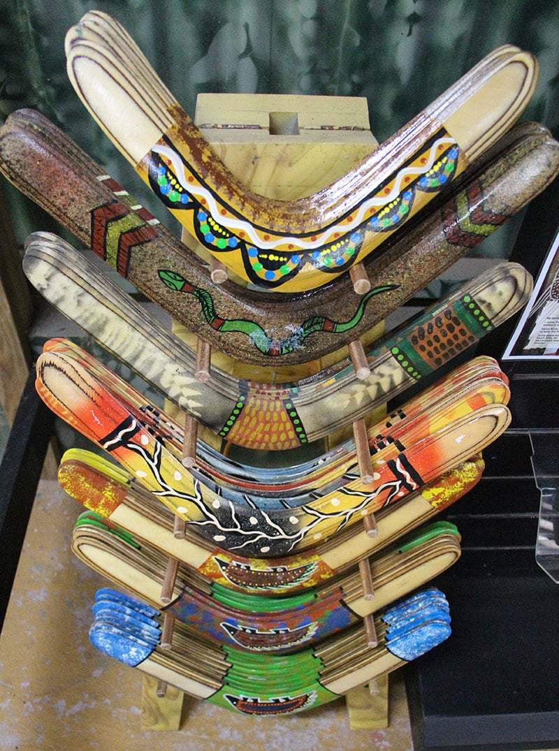authentic aboriginal artwork hand painted boomerangs at rainforestation kuranda